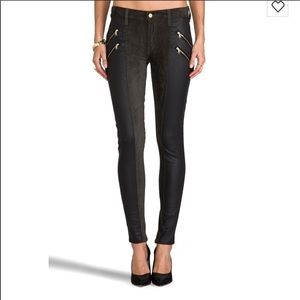 7 for all Mankind Skinny Coated double zip Black
